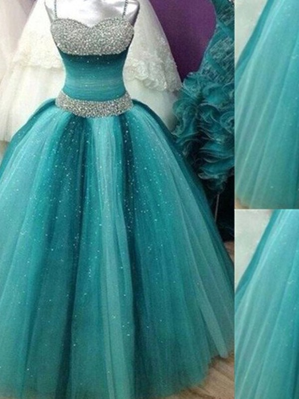 Ball Gown Spaghetti Straps Sleeveless Tulle Long Dress With Beading