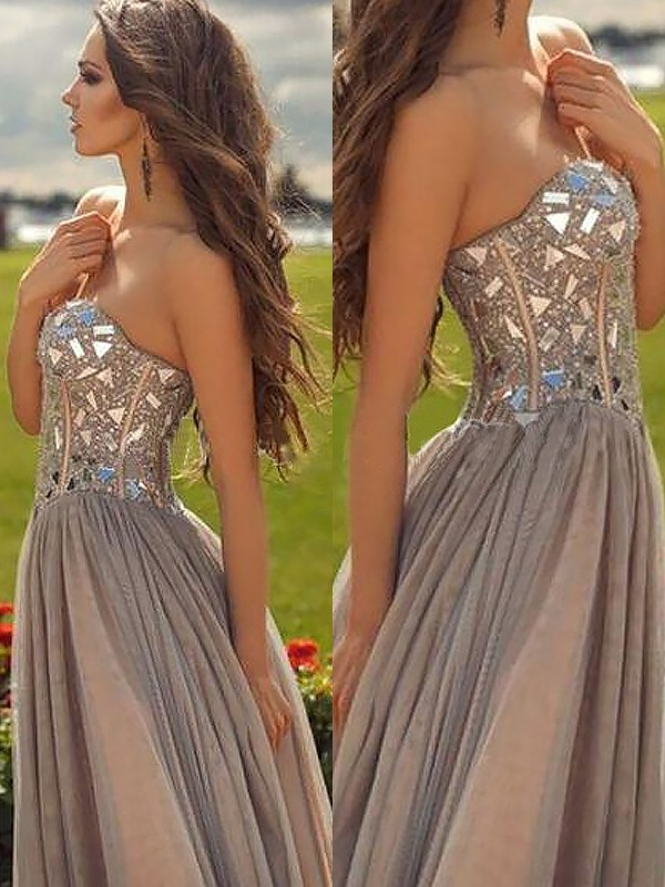 A-Line/Princess Sweetheart Sleeveless Chiffon Beading Floor-Length Dresses