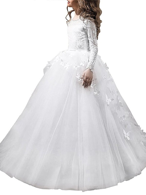 Ball Gown Scoop Long Sleeves Floor-Length Tulle Flower Girl Dresses