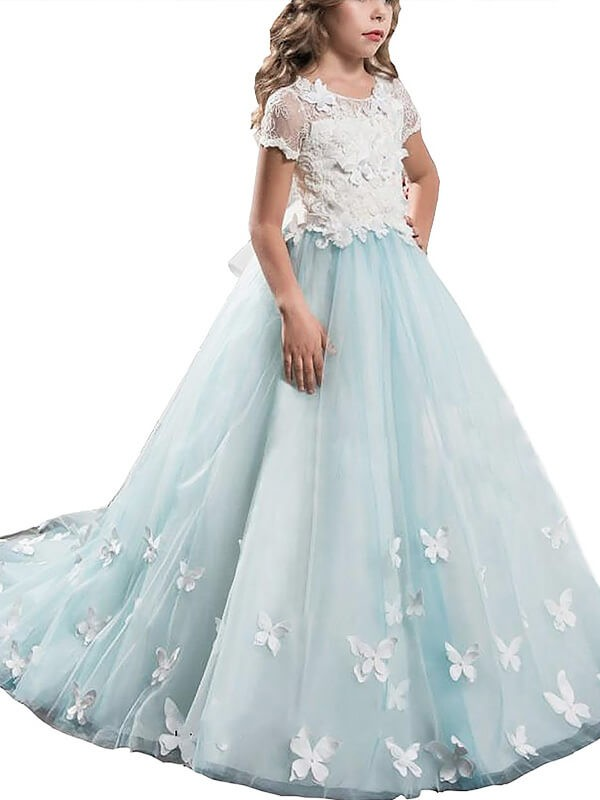 A-line/Princess Scoop Short Sleeves Lace Tulle Floor-Length Flower Girl Dresses