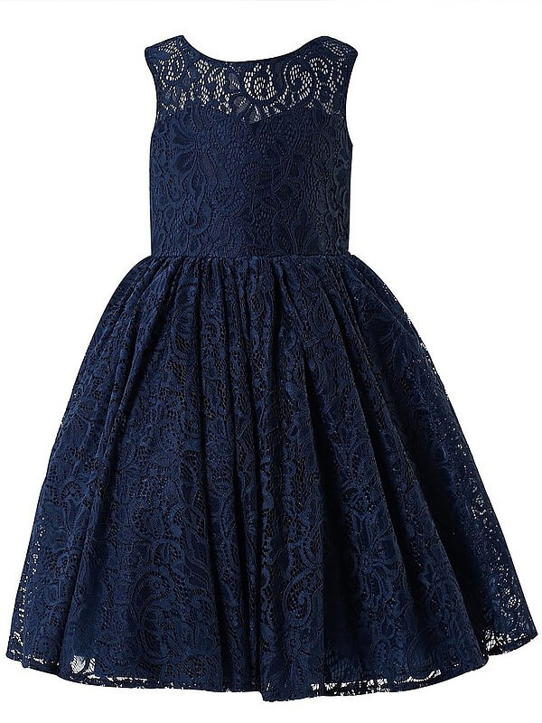 A-line/Princess Scoop Sleeveless Lace Floor-Length Flower Girl Dresses