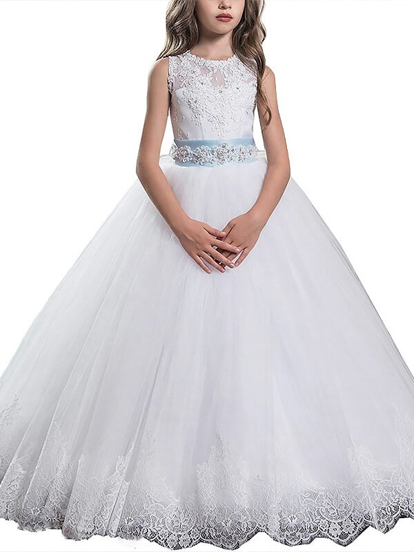 Ball Gown Scoop Sleeveless Applique Floor-Length Tulle Flower Girl Dresses