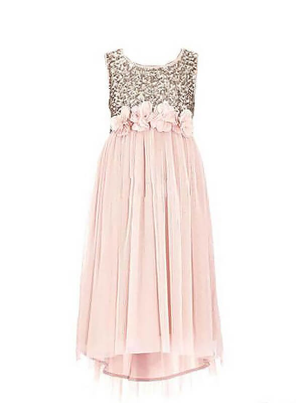 A-line/Princess Scoop Sleeveless Sequin Chiffon Floor-Length Flower Girl Dresses