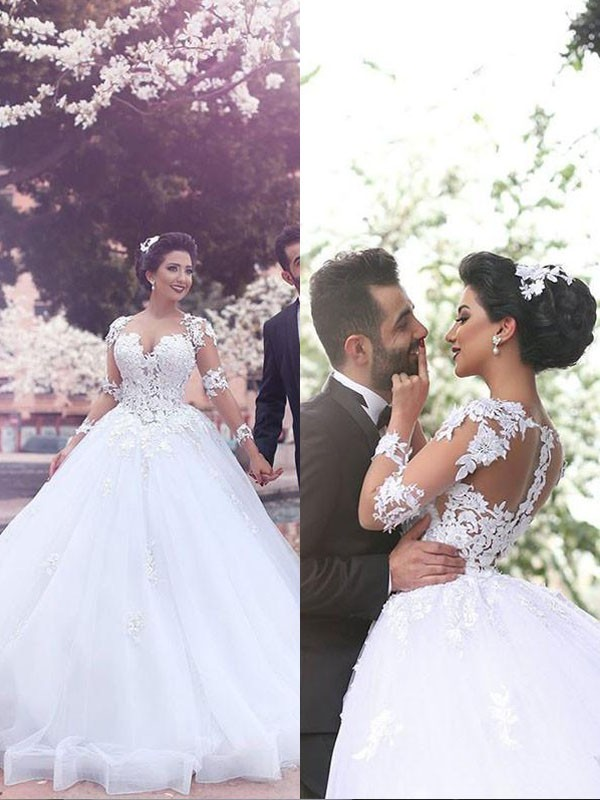 Ball Gown Court Train Sweetheart Long Sleeves Tulle Wedding Dresses