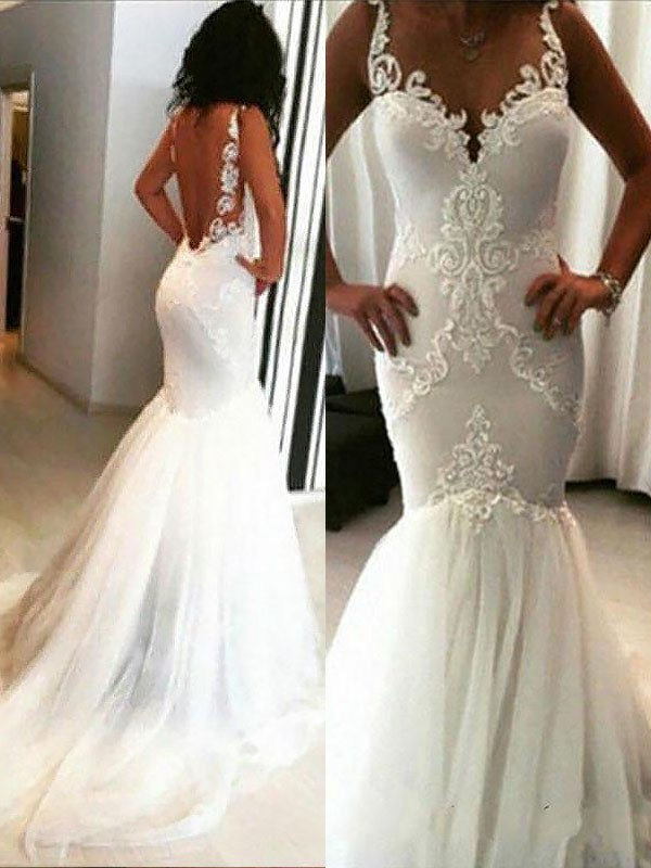 Trumpet/Mermaid Chapel Train Applique Spaghetti Straps Sleeveless Tulle Wedding Dresses