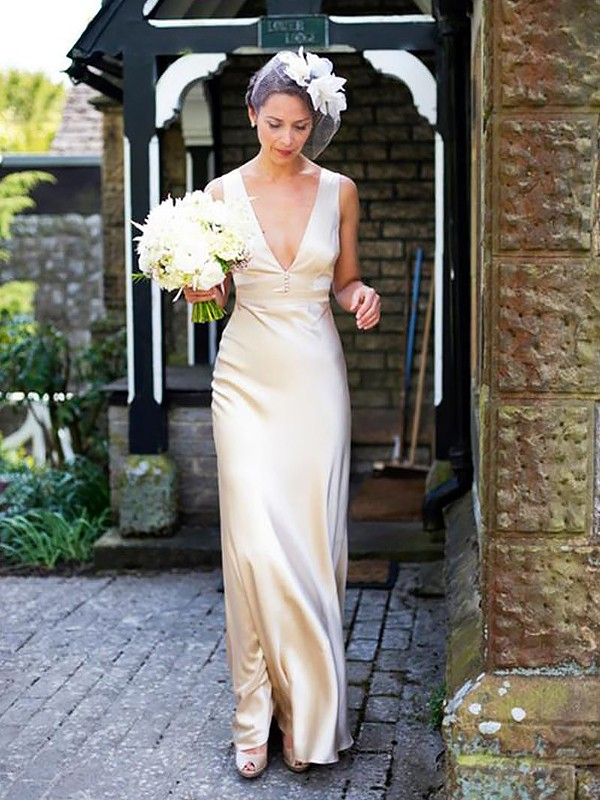Sheath/Column Satin Sleeveless V-neck Floor-Length Wedding Dresses