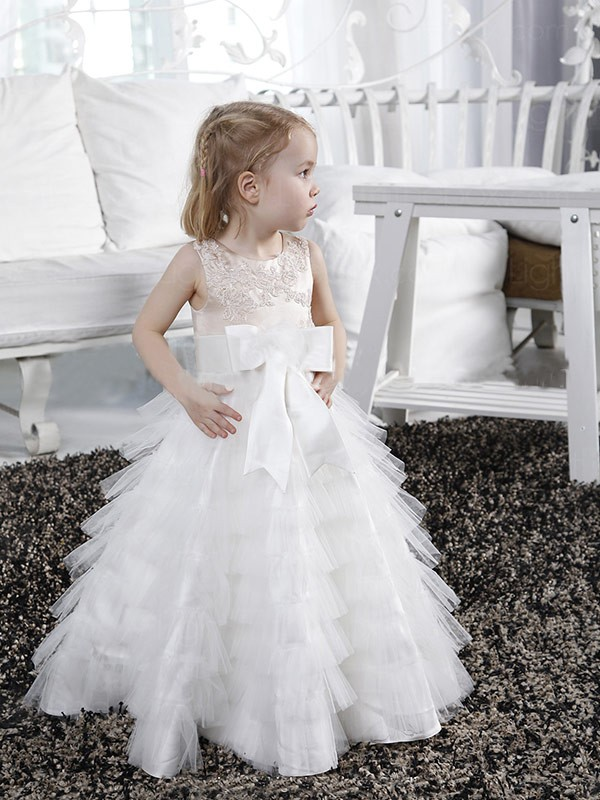 A-line/Princess Scoop Bowknot Sleeveless Long Tulle Flower Girl Dresses