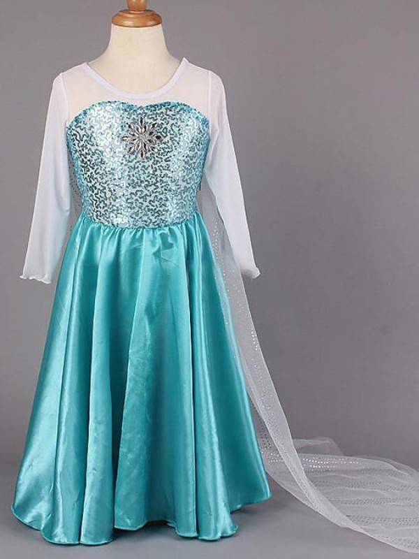 A-line/Princess Scoop Long Sleeves Beading Long Satin Flower Girl Dresses