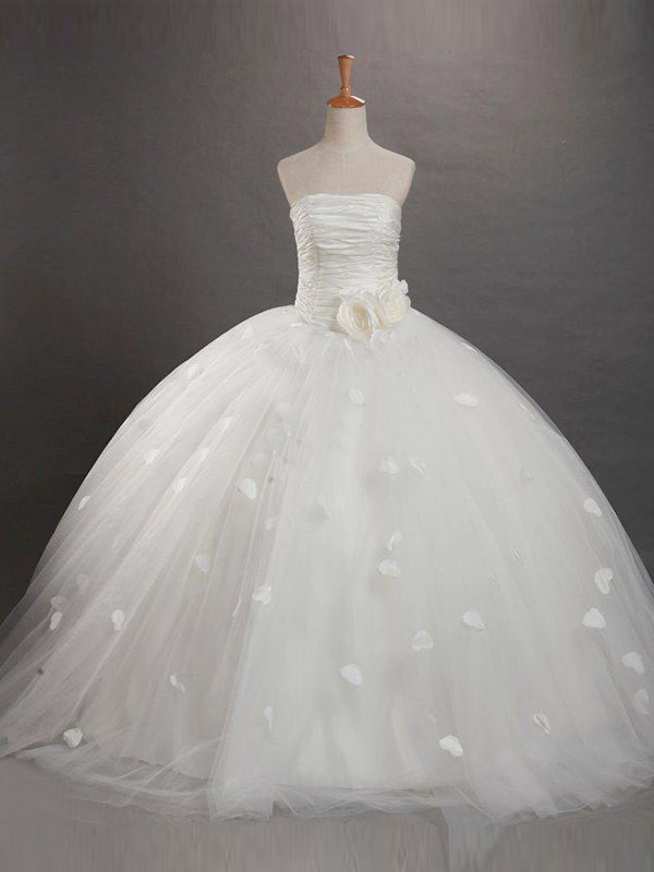 Floor-Length Ball Gown Strapless Sleeveless Ruffles Tulle Flower Girl Dresses