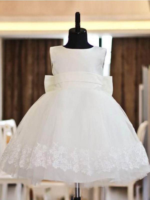 Tea-Length A-Line/Princess Scoop Sleeveless Lace Organza Flower Girl Dresses
