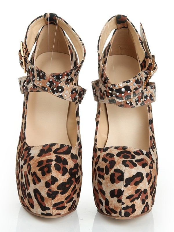 Chicregina Womens Suede Stiletto Heel Closed Toe Platform with Leopard Print Shoes