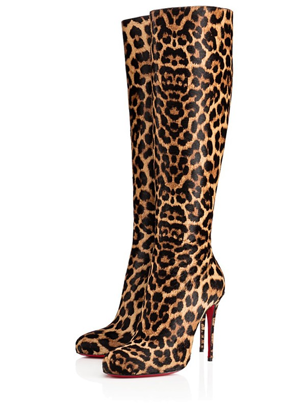 Chicregina Womens Leopard Print Horsehair Closed Toe Stiletto Heel Knee High Boots