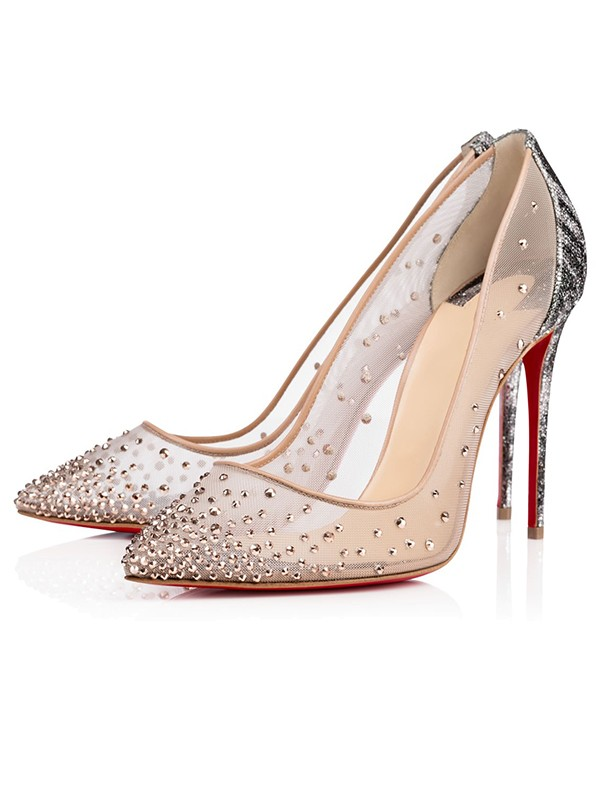 Chicregina Womens Closed Toe Stiletto Heel Heel Shoes with Hot Drilling