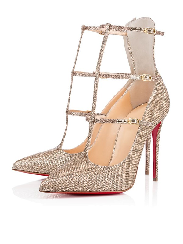 Chicregina Womens Sparkling Glitter Closed Toe Stiletto Heel Party Shoes with Buckle