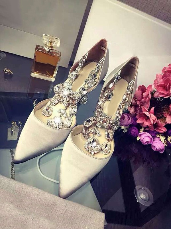 Chicregina Womens Closed Toe Satin Stiletto Heel Party Shoes with Rhinestone Chain