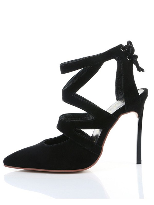 Women's Suede Closed Toe Stiletto Heel With Knots High Heels