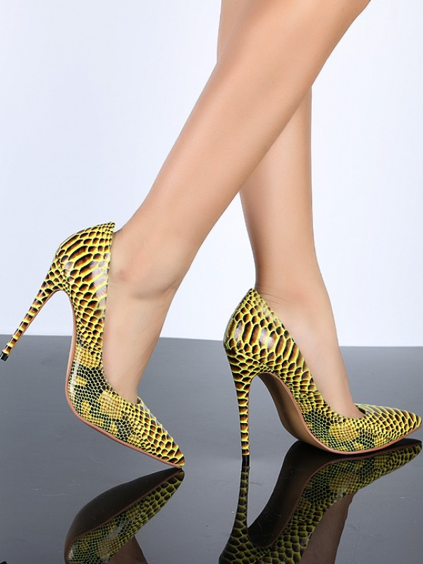Women's Closed Toe Yellow PU Stiletto Heel With Snake Print High Heels