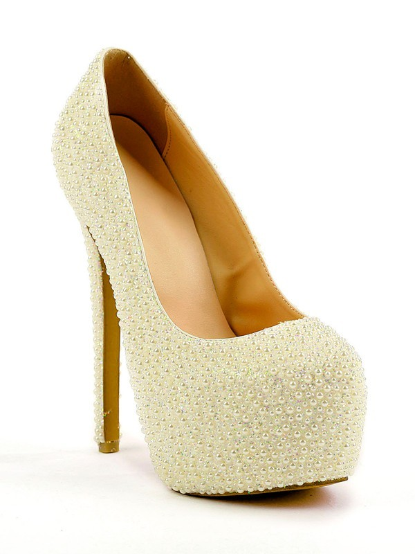Chicregina Womens Stiletto Heel Closed Toe Platform with Pearl Party Evening Shoes