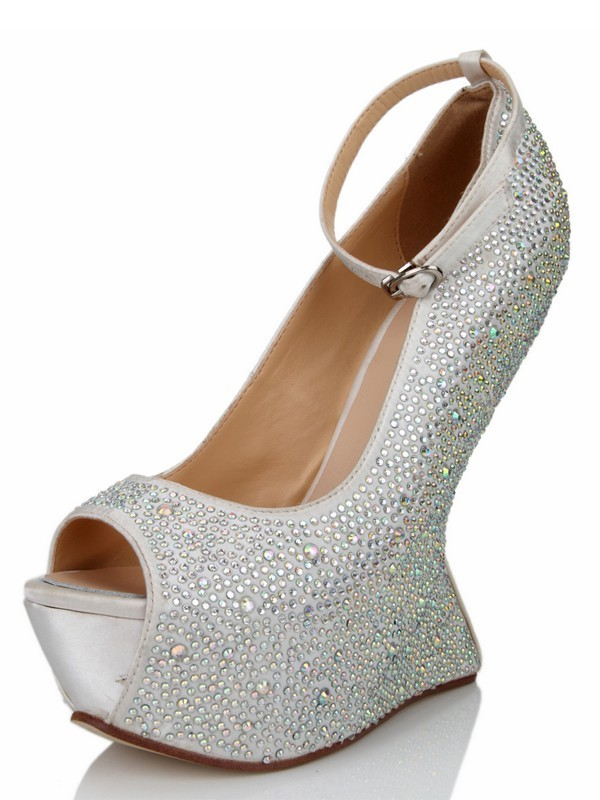 Chicregina Womens Wedge Heel Silk Peep Toe with Rhinestone Platform Shoes