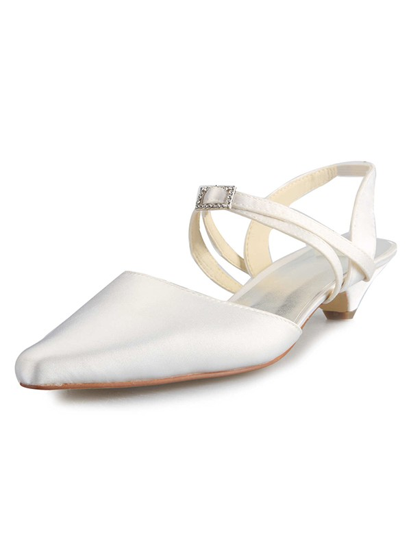 Chicregina Womens Satin Kitten Heel Closed Toe Bridal Shoes with Buckle