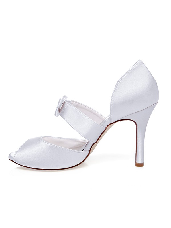 Women's Satin Peep Toe Bowknot Stiletto Heel Wedding Shoes
