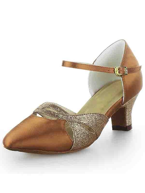 Chicregina Womens Satin Closed Toe Chunky Heel Dance Shoes with Buckle Sparkling Glitter
