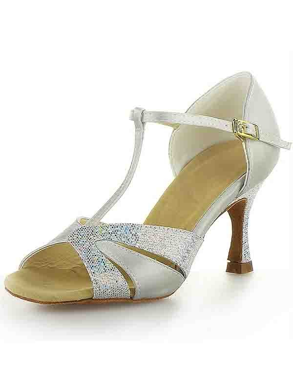 Chicregina Womens Satin Stiletto Heel Peep Toe Dance Shoes with Buckle Sparkling Glitter