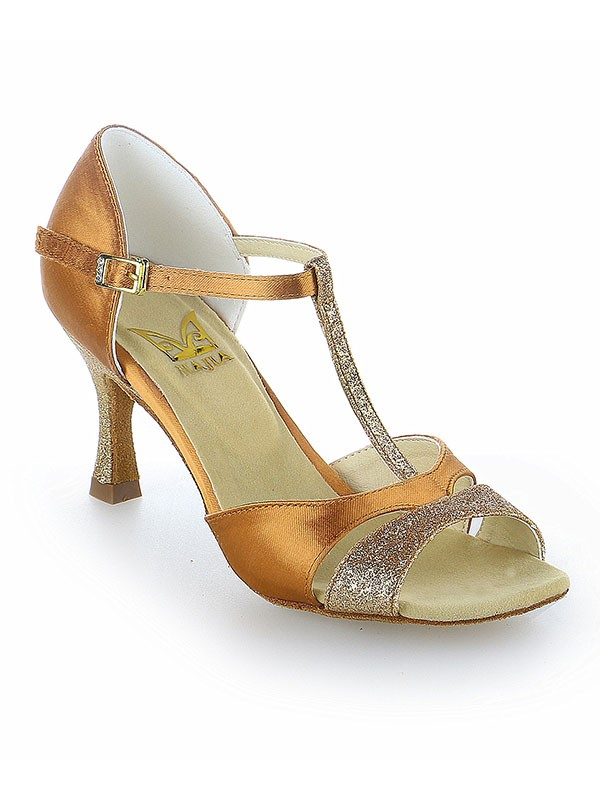 Chicregina Womens Satin Peep Toe Latin Dance Shoes with Buckle Stiletto Heel