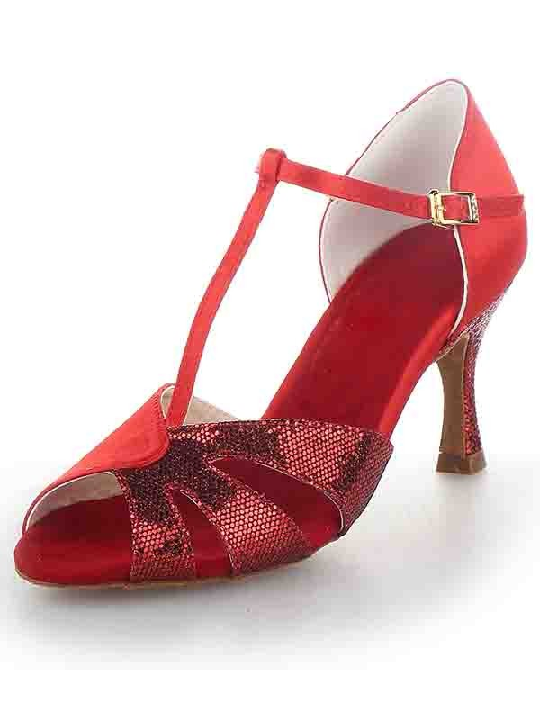 Chicregina Womens T Strap Peep Toe Stiletto Heel Satin Dance Shoes with Sparkling Glitter
