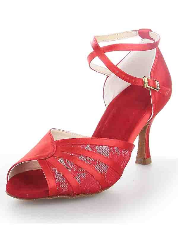 Chicregina Womens Stiletto Heel Satin Peep Toe Ballroom Dance Shoes with Buckle