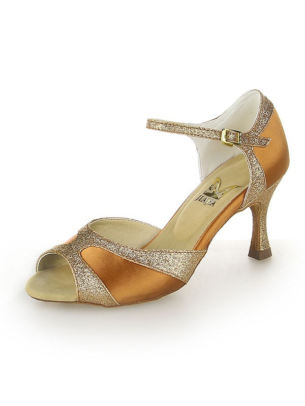 Chicregina Womens Satin Peep Toe Dance Shoes with Sparkling Glitter Stiletto Heel