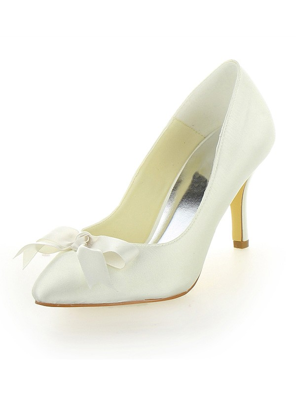 Chicregina Womens Stiletto Heel Satin Closed Toe Bridal Shoes with Bowknot