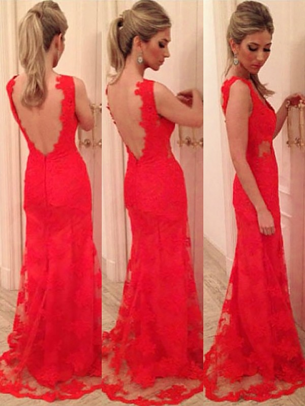 Trumpet/Mermaid V-neck Applique Sleeveless Lace Backless Floor-length Dress