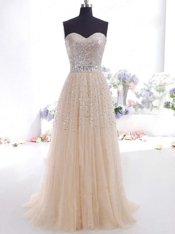Chicregina A-Line/Princess Sweetheart Sleeveless Other Tulle Sweep/Brush Train Dresses