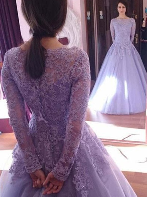 Ball Gown Floor-Length Jewel Lace Tulle Long Sleeves Dresses