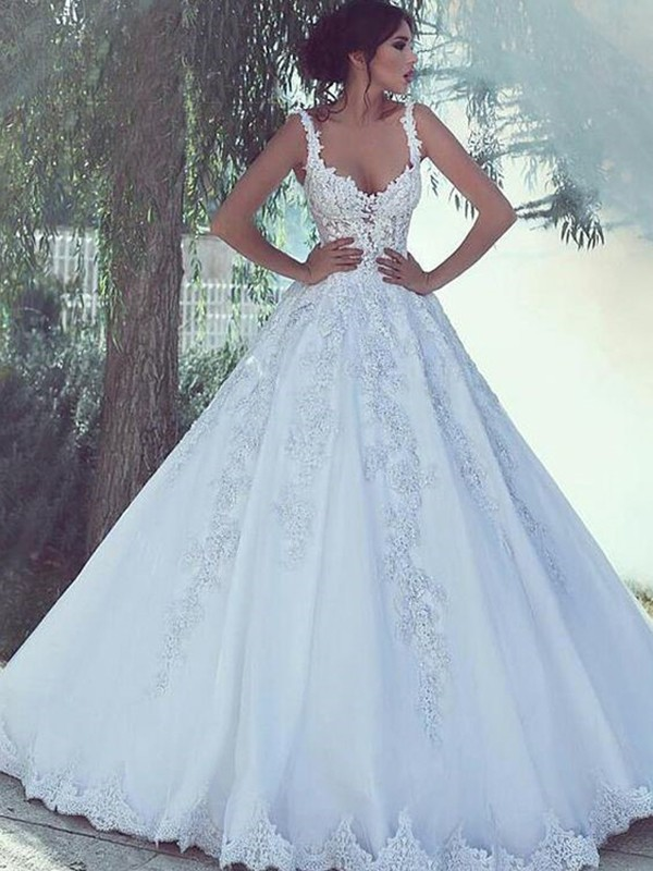 Ball Gown Scoop Sweep/Brush Train Sleeveless Satin Lace Wedding Dresses