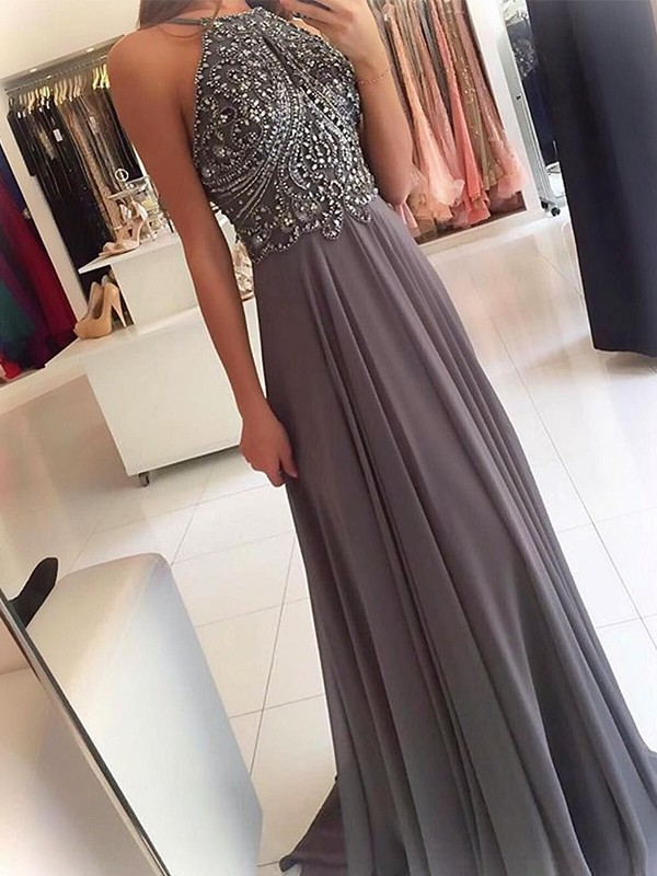 A-Line/Princess Halter Sweep/Brush Train Sleeveless Chiffon Beading Dresses