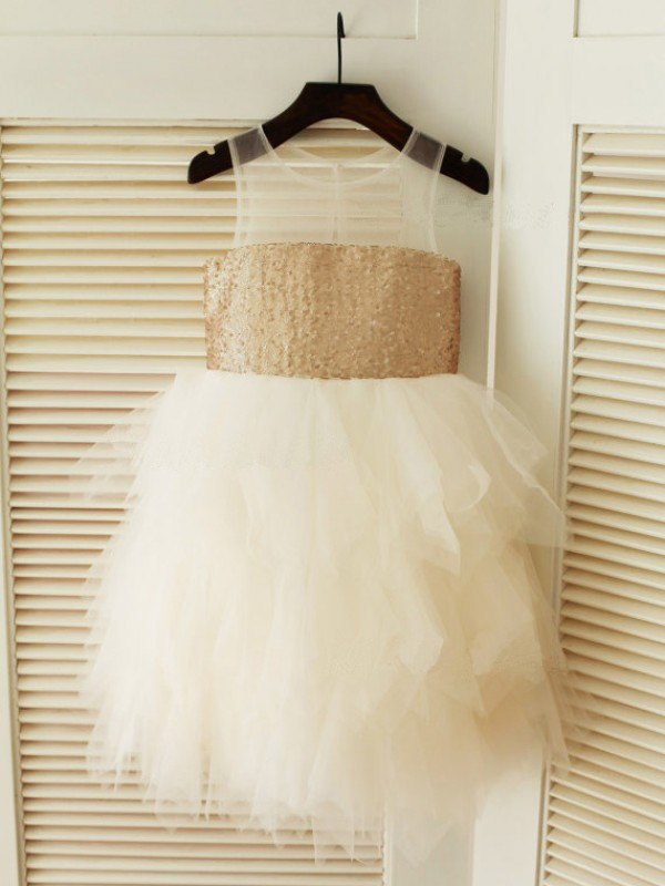 Chicregina Long Ball Gown Scoop Sleeveless Tulle Communion Dress with Ruffles