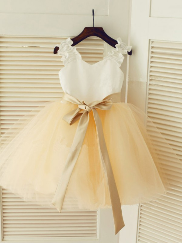 Chicregina Long Straps Ball Gown Sleeveless Sash Communion Dress with Tulle