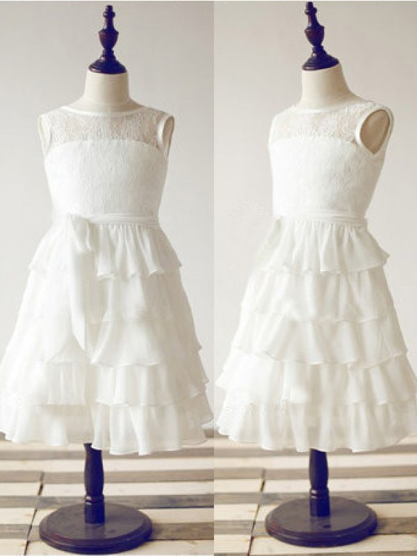Chicregina Long A-Line/Princess Scoop Sleeveless Chiffon Communion Dress with Lace