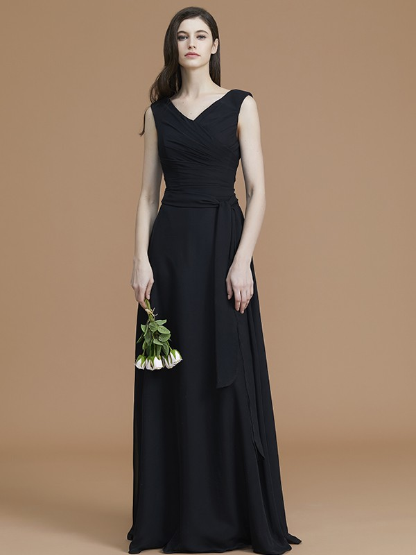A-Line/Princess V-neck Sleeveless Floor-Length Sash/Ribbon/Belt Chiffon Bridesmaid Dresses