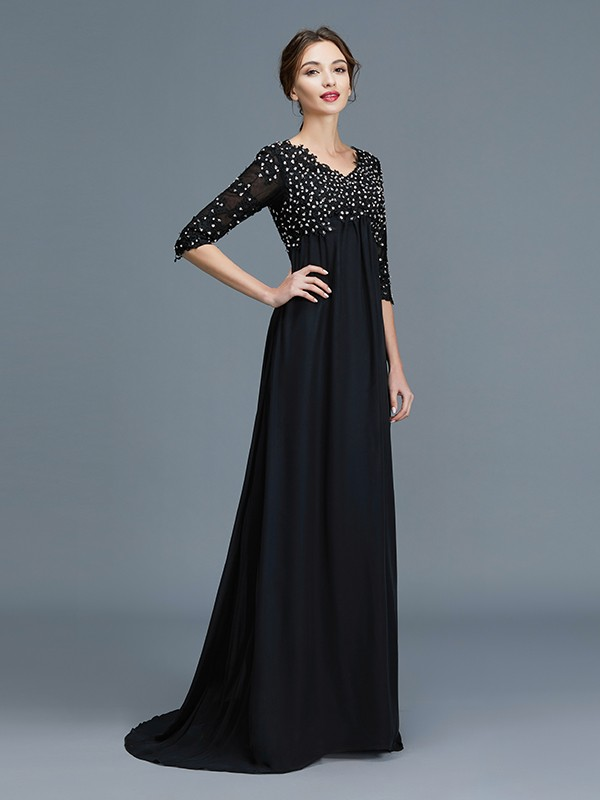 A-Line/Princess V-neck 1/2 Sleeves Beading Chiffon Floor-Length Mother of the Bride Dresses