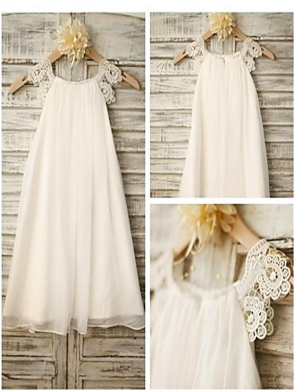 Chicregina Long A-Line/Princess Scoop Sleeveless Chiffon Flower Girl Dress with Lace