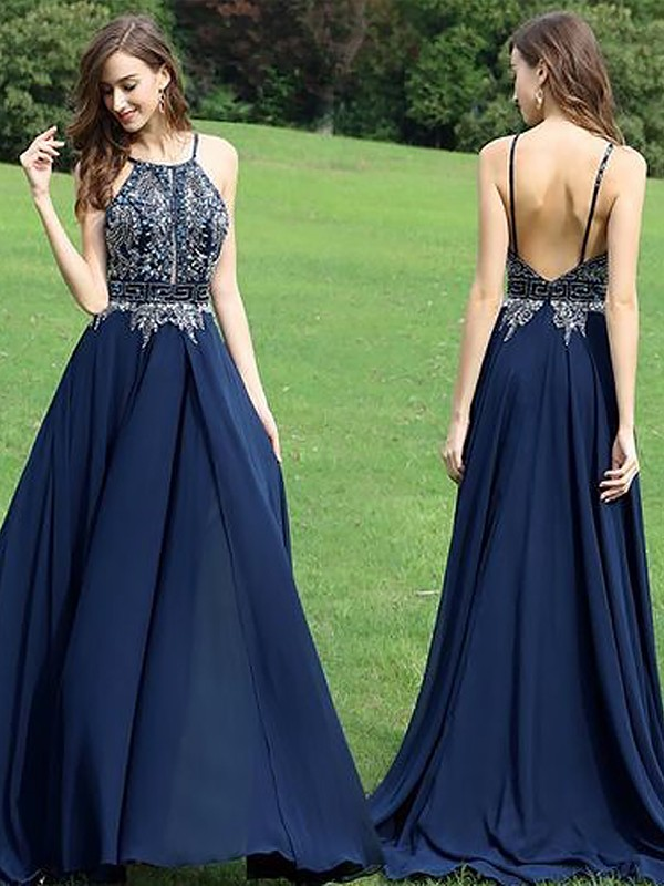 A-Line/Princess Sleeveless Halter Chiffon Beading Floor-Length Dresses