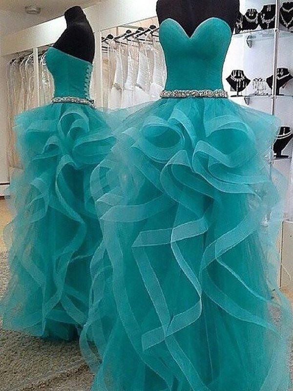 Ball Gown Sleeveless Sweetheart Beading Floor-Length Organza Dresses