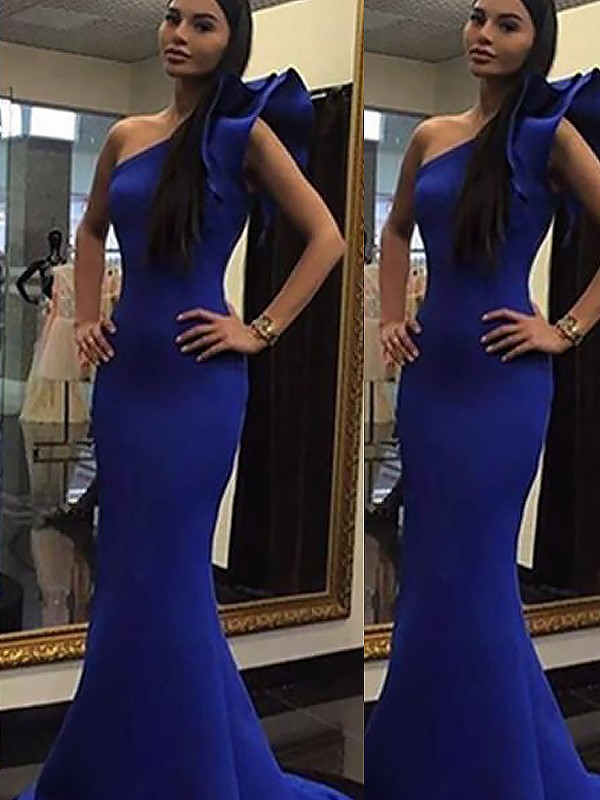 Trumpet/Mermaid Sleeveless One-Shoulder Ruffles Sweep/Brush Train Satin Dresses