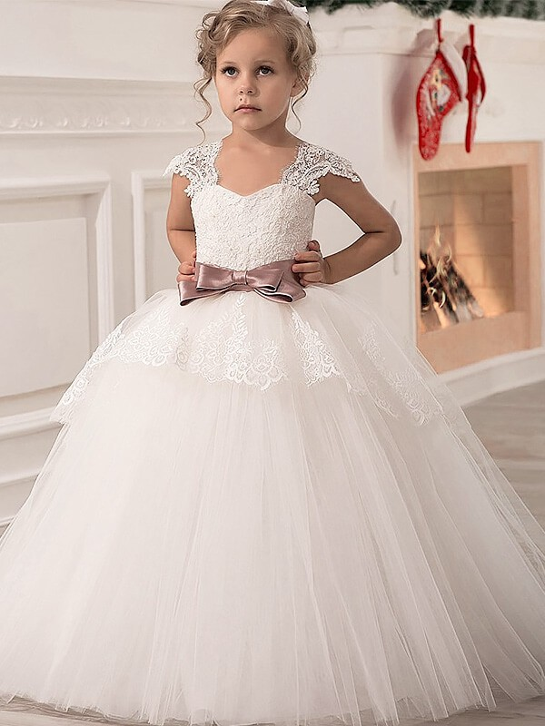 c4aeb03908b Ball Gown Straps Sleeveless Sash Ribbon Belt Tulle Floor-Length Flower Girl  Dresses