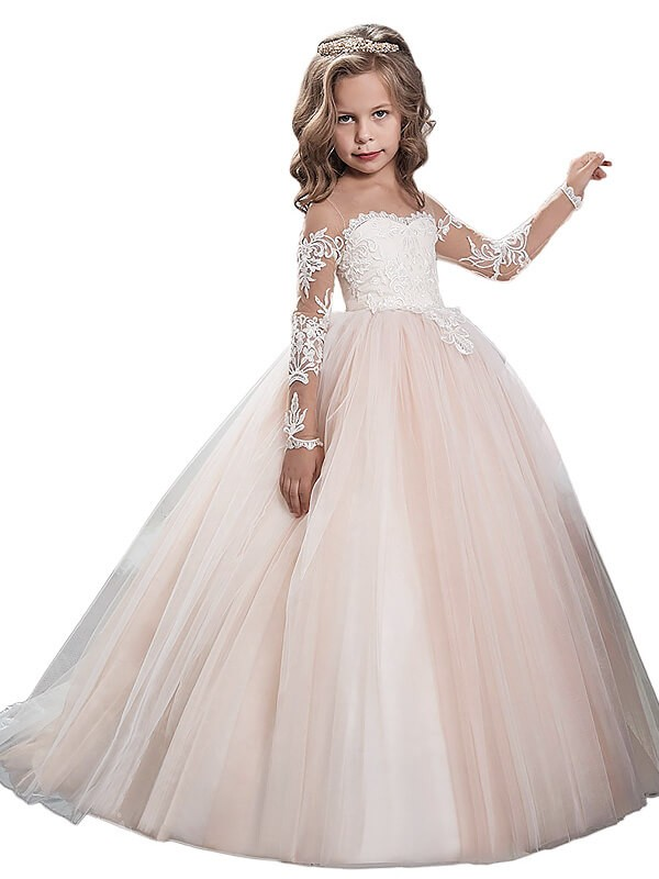 25b37f4e7a1 Ball Gown Scoop Long Sleeves Floor-Length Tulle Flower Girl Dresses
