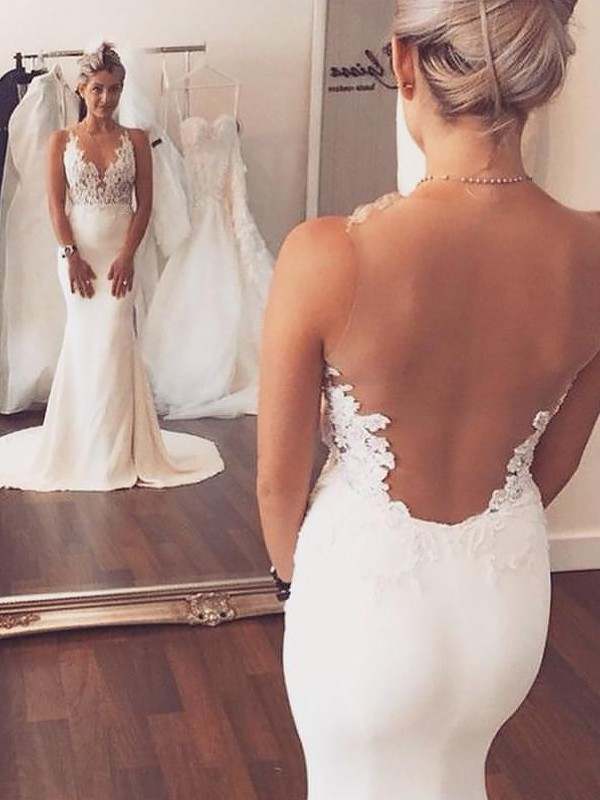 Trumpet/Mermaid Satin Applique Scoop Sleeveless Court Train Wedding Dresses