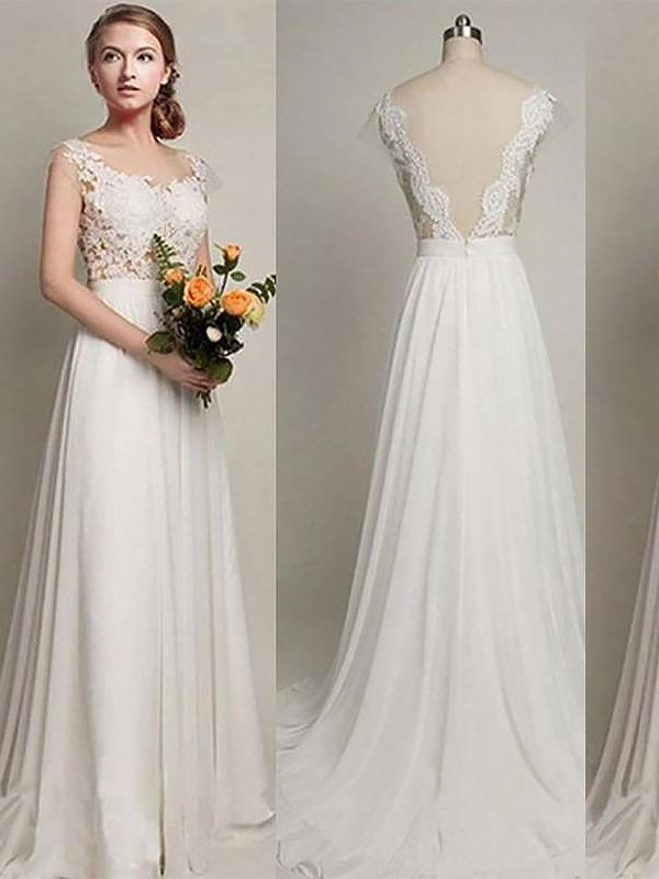 A-Line/Princess Chiffon Scoop Sleeveless Sweep/Brush Train Wedding Dresses